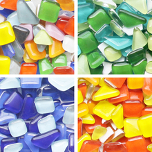 Colored Glass Marble Mosaic Particles 155 pcs Irregular Mosaic Tiles DIY Mosaic Flowerpot Garden Ornament Glitter Mosaic Beads(China)