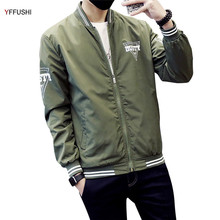 YFFUSHI Newest Jackets Men Letter Printing Green Blue Navy Black White Bomber Jacket Men Zipper Long Sleeve Casual Style(China)