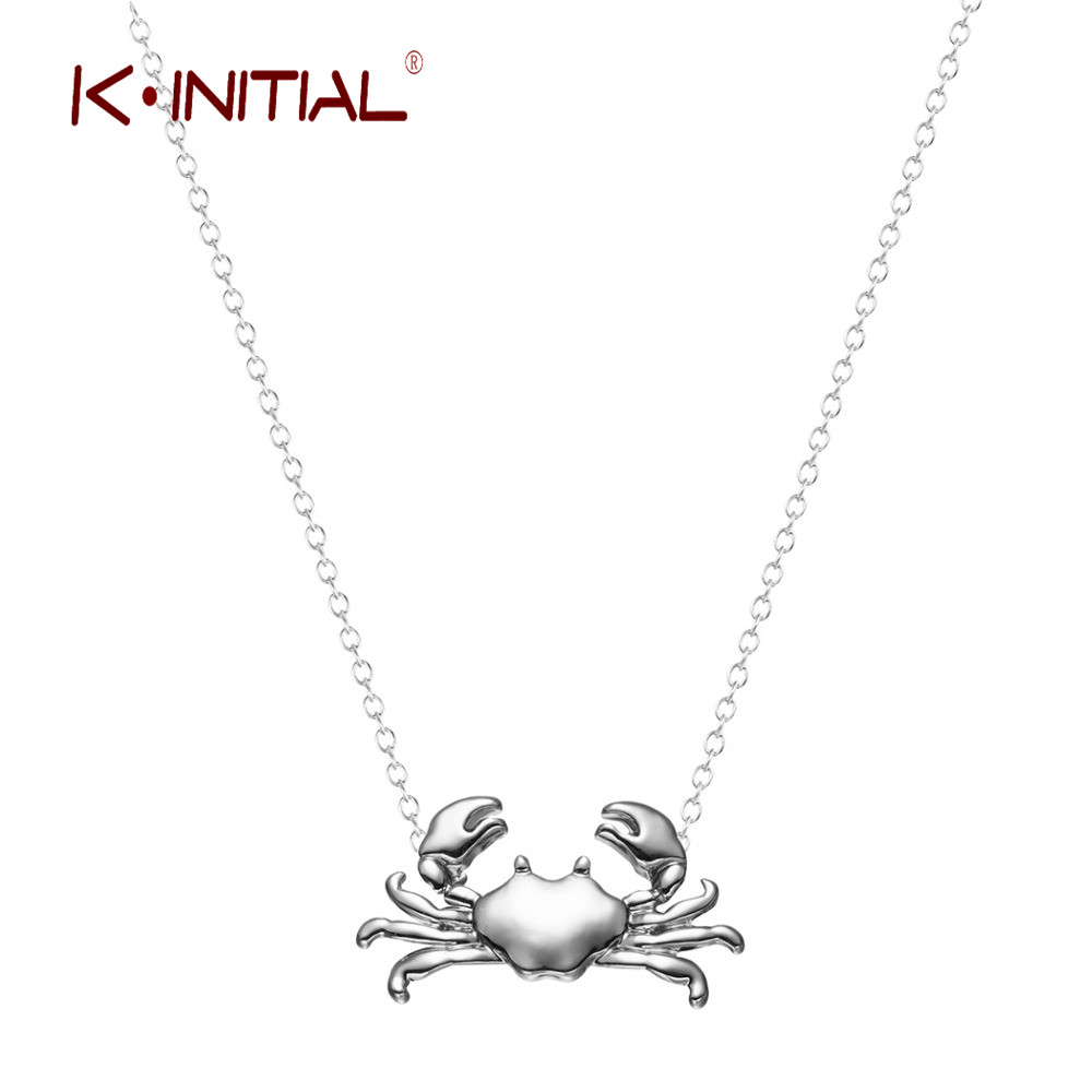 Kinitial Retail Silver Gold Maryland Crab Pendant Necklace Cancer Zodiac Necklace & Pendant Chain Jewelry for Women Girls Bijoux(China (Mainland))
