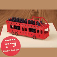 (10 pieces/lot)Free Shipping Cartoon Double Deck Bus in Lost In Hong Kong Handmade Kirigami & Origami 3D Pop UP Greeting Cards