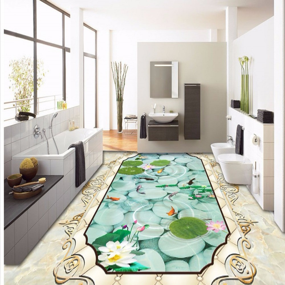 Free Shipping custom Marble pattern soft package lotus nine fish 3D floor painting wear PVC floor wallpaper<br>