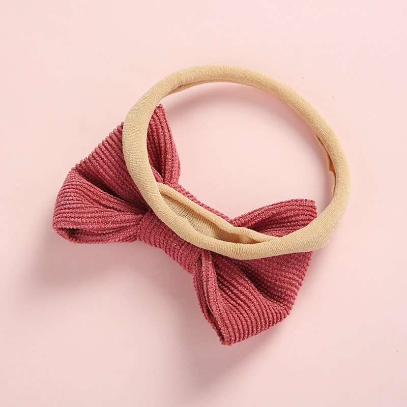 Baby Headband Bow Headbands For Girl Corduroy Head Band Thin Nylon Hairband Newborn Kids Toddler Hair Accessories Spring Summer