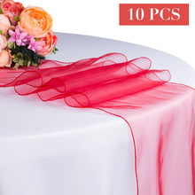 10PCS/LOT Wholesale Organza Table Runner For Wedding Party Hotel Tulle Sheer Table Runners Red Pink Gold Decoration 30X275CM(China)