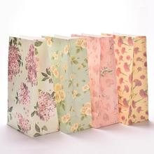 3Pcs/lot Flower printing paper bags Gift Bags Party Lolly Favour Wedding Packaging Storage Bags 23x13cm