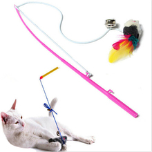 1PCS New Cute Design Steel Wire Feather Teaser Wand Plastic Toy For Cats Color Multi Products For Pet Cat Toy