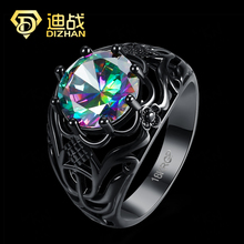 Princess Jewelry Wedding Ring HolloW 10KT Lace Black Gold Filled CZ Crystal Rings Women Blue CZ Crystal Engagement Rings