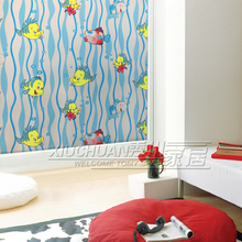 PVC free Color cartoon fish pattern static glass film frosted opaque glass insulation balcony bathroom window stickers affixed