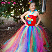 Handmade Rainbow Girls Easter Dresses Baby Girl Toddler Wedding Party Christmas Gown Tulle Tutu Dress Pageant Flower Girls Dress