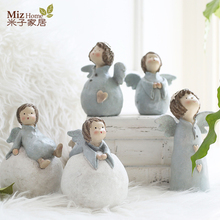 Miz Home 1 Piece Blue Resin Craft Snow Ball Doll Cute Bunny for Child Gift Figurines Home Decoration
