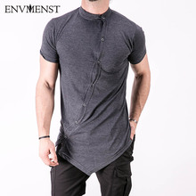 2017 Summer Fashion Show Stylish Men's Polos Oversize Asymmetry High Street Model Button Short Sleeves Polo shirt US Size