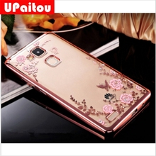 UPaitou Luxury Secret Garden Flowers plating Diamond Soft TPU Gel Back Cover Case For Huawei Honor 3C Phone cases Brand New