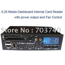 5.25 LCD DisplayMedia Dashboard Internal card reader with USB HUB ESATA SATA power port fan control and speaker/microphone