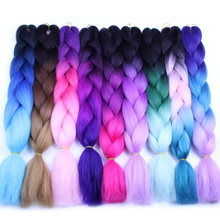 FALEMEI 24inch Long 100g/pack Jumbo Braids Extension Synthetic High Tempureture Fiber Ombre Braiding Hair Kanekalon Crochet Hair