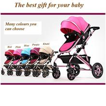 2016 New design foldable aluminum Luxury baby stroller 3 in 1 , stroller carry bag, 5 colour four wheels single seat(China)