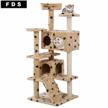 New Cat Tree Tower Condo Furniture Scratch Post Kitty Pet House Play Beige Paws PS5791