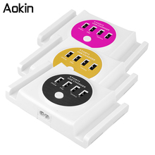 Aokin New Smart 4 USB 6A Multi Ports Travel Home Charger Adaptor Charging Head with Cellphone Holder for iPhone iPad for Samsung