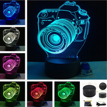 AUCD 2017 LED Colorful Remote Vision Stereo Night Light Custom Acrylic Table Lamp USB Entertainment Camera 3D Lamp -3D-TD225(China)