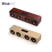 2017 New Design Bluetooth Speaker 4 HiFi Speakers TF Card AUX Subwoofer Portable Speaker for TV Home Theatre Wood Sound Bar(China)