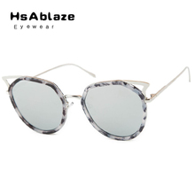 HsAblaze Eyewear Hollow Out Brand Womens Round Lens Cat eye Fashion Sunglasses Pink Blue Mirror Colorful Sun Glasses Female(China)
