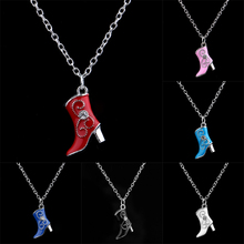 Fashion Europe Italy Style Korean Popular Christmas Gift Necklaces Charm Crystal Boots Pendant Necklace Long Chain Women Jewelry