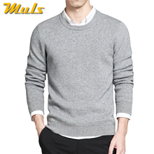 2017 Spring mens pullover sweaters Simple style cotton O neck sweater jumpers Autumn Thin male knitwear Blue Gray Black M-4XL(China)