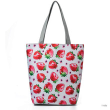 M638 Lady's Bag Of Shopping Handbags Creative Printing Of Canvas Material Fruit Printing Flower Plant Zipper Bag(China)