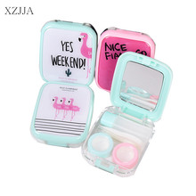 XZJJA Nice Flamingo Contact Lenses Storage Box Cute Contact lens Case Box Eyes Care Kit Holder Washer Cleaner Container Kawaii