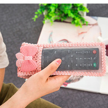 Dust Storage Boxes cute lace and bear decoration TV Remote Control Cover Protective Holder Bags Home Item Stuff Accessories(China)