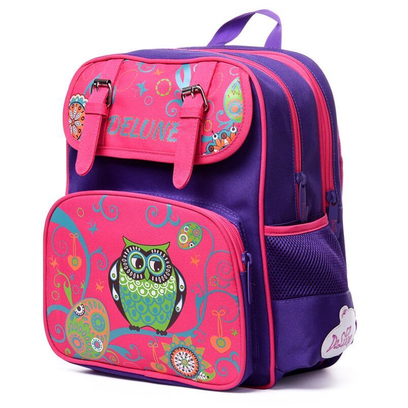 Delune Owl Pattern Kid School Bag Orthopedic School Backpack For Girls High Quality Children Backpacks<br><br>Aliexpress