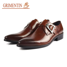 GRIMENTIN buckle shoes men casual black brown rubber sole genuine Leather mens dress Shoes male Business work wedding(China)