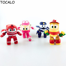 11cm 4pcs/set Robot Trains Transformation Kay Alf Dynamic Train Family Deformation Robot Train Kids Gifts Toys Come With Opp Bag
