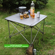 Foldable Picnic Table Height Adjustable Folding Table Outdoor Aluminum Alloy Camping Table Desk Furniture with Carry Bag