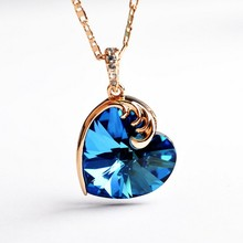 USTAR Blue Crystal Heart Pendant Necklace for women Fashion wedding Jewelry Rose Gold color Chain necklace bijoux