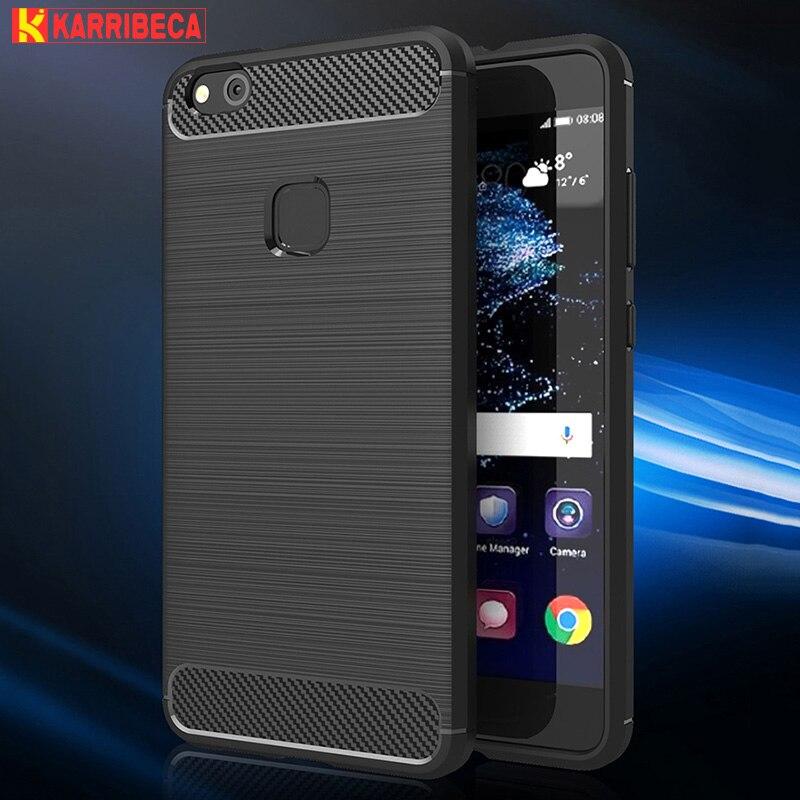 carbon fiber brushed silicone case huawei P10 Lite (1)