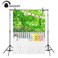 Allenjoy photography backdrops lovely toy bears lawn fence white wooden board floor children photos fond photo fond studio(China)