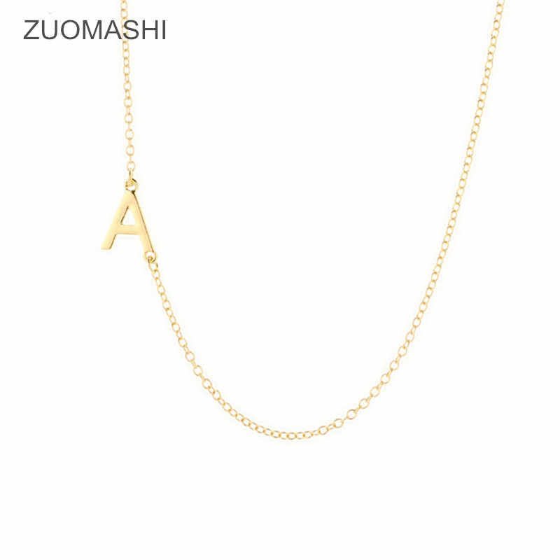 hot fashion 26 letters charm pendant necklace womens simple sideways initial choker necklace