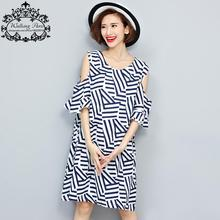 Summer Women Dress Big Size Striped Print Linen Off Shoulder Fashion Casual Loose Female Bohemian Beach Tops Lady Blue Clothes