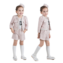 100% Cotton Autumn Winter Costume Baby Girls Thicken Solid Color Long Sleeves Shorts 2pcs Warm Children Clothing Sets