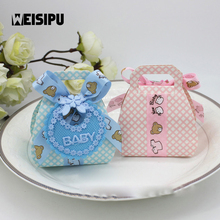 12pcs/lot Bear DIY Gift Christening Baby Shower Party Favor Boxes Paper Candy Box with Bib Tags & Ribbons New Arrival