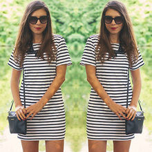 2016 Fashion Womens Sexy Short Sleeve Striped Dresses Casual Bodycon Slim Mini Shift Dress