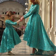 A-line high Collar Long Sleeve Puffy Green Color Lace Fashion Two Dresses Mother and Daughter Wedding Dress Patterns Free