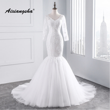 V-Neck Wedding Dress Long Sleeve mermaid Lace Bridal Dresses Vestido De Noiva Curto Wedding Gowns