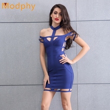 2017 women sexy open back hollow out cut out rayon elastic halter mini club party hl bandage dress drop shipping HL858(China)