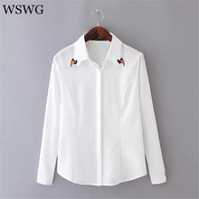 2017 Women Embroidery Swan Collar Blouse Long Sleeve OL Slim Shirt Office Wear High Quality Slim Tops For 4 Season 60588