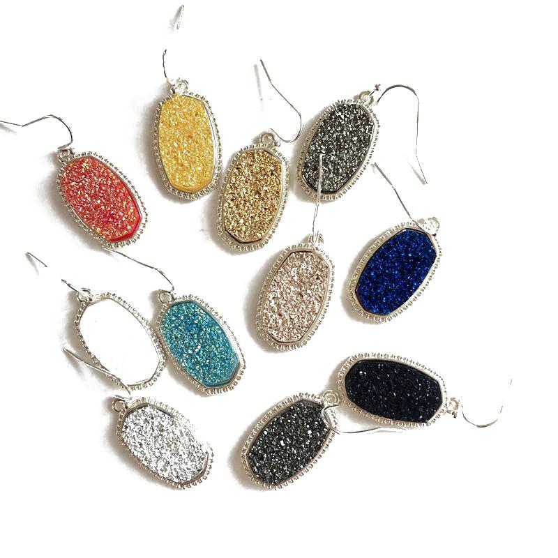 10 Colors Resin Drusy Dangle Earrings Imitation Crystal Stone Druzy Charms Earings Silver Colors Brand Jewelry  Women KS 71