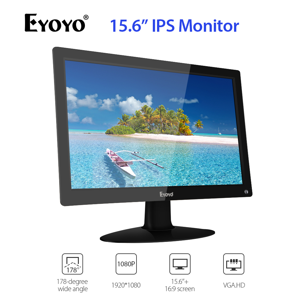 "Eyoyo 1920x1080 IPS LCD Big Screen 15.6"" inch Monitor with HDMI/AV/VGA/BNC Input PC Monitor Security Monitor VESA 75 Wall Mount"