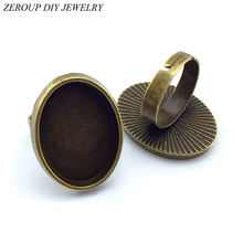 Buy ZEROUP 18x25mm 5pcs Ring Setting Antique Bronze Copper Plated Adjustable Oval Glass Cabochon Blank Base Supplies Jewelry F04 for $2.14 in AliExpress store