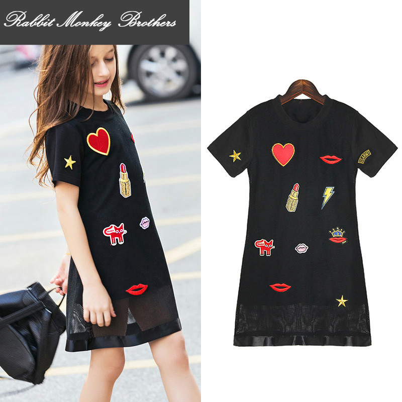 RMBkids Teen Girls Summer Dress Mesh Princess Dress with Cartoon Embroidered Patches for 5-15 Aged Young Girls<br>