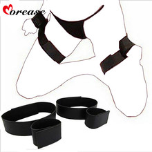 Morease Handcuff Wrist & Ankle Cuffs Kit Soft Sex Toy Adjustable Fetish brinquedos Bondage Erotic Bdsm Adult Games For Couples(China)
