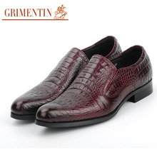 GRIMENTIN 2017 Genuine Leather Crocodile Male Business Shoes Fashion Italian Designer Black Dress Mens Shoes Man Flats NEW hj65(China)